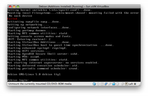 VirtualBox running a Debian GNU/Linux guest on Mac OS X