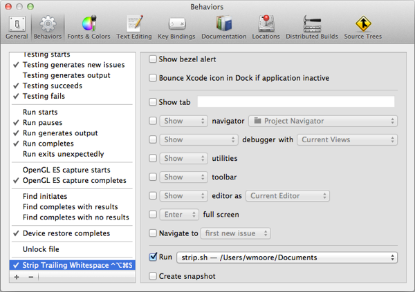 Xcode 4 Behaviours Preferences