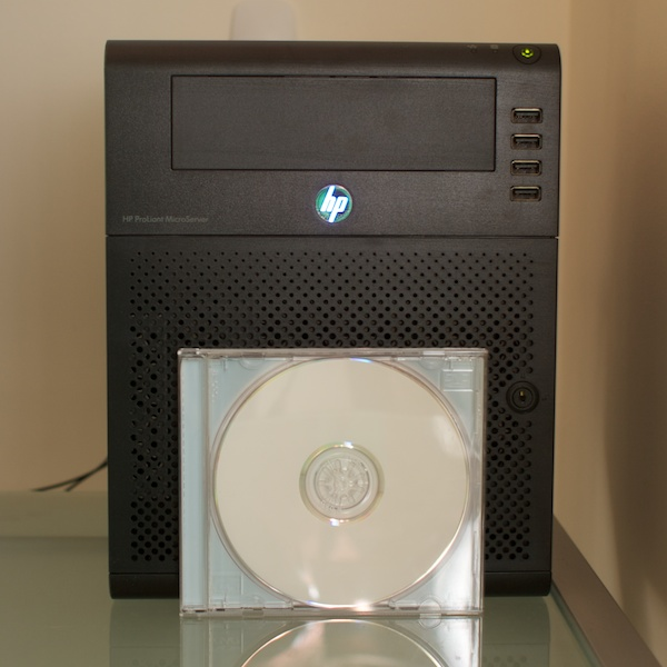 Fron of MicroServer with CD for size comparison