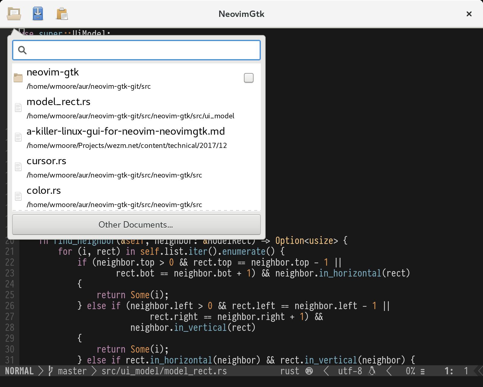 A Cross Platform GUI For Neovim: NeovimGtk - WezM net by